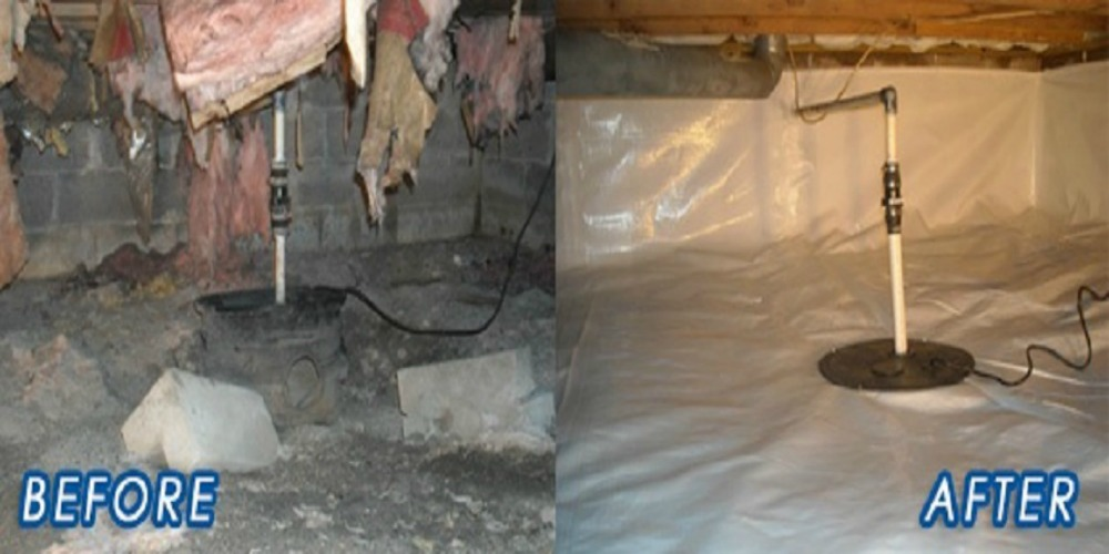 Crawl Space Encapsulation - Croach - Kirkland, WA - Before and after of crawl space moisture barrier